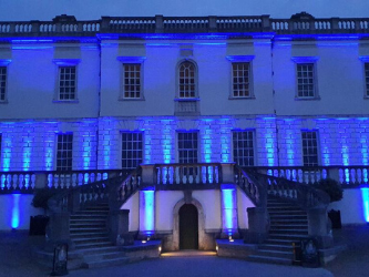 Queen's House Greenwich lit up blue for NHS #clapforcarers